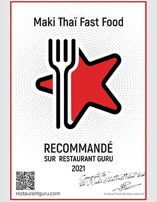 Maki Thai Fast Food Récompense